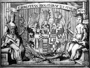 Illustrated armorial bookplate of Christian Ernst Graf zu Stolberg Wernigerode